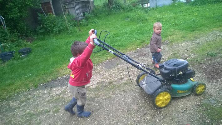 Bald übernehmen die Jungs das Rasenmähen.