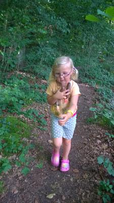 Tannenzapfen suchen auf dem Weg zum Huusemersee