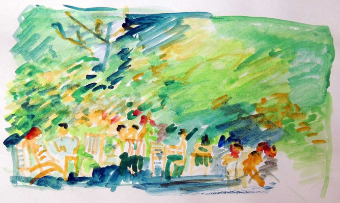 Portraitisti im Garten beim Zeichen von Ben und Marlon von Heinz I