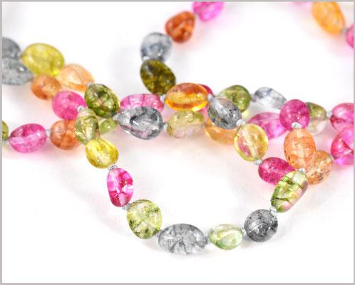 Bunte Mala Kette mit natürlichen Knister Quarz Perlen 5 - 10 mm   - Vinoda -