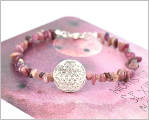 Edelsteinarmband mit Turmalin Chips rosa und Blume des Lebens