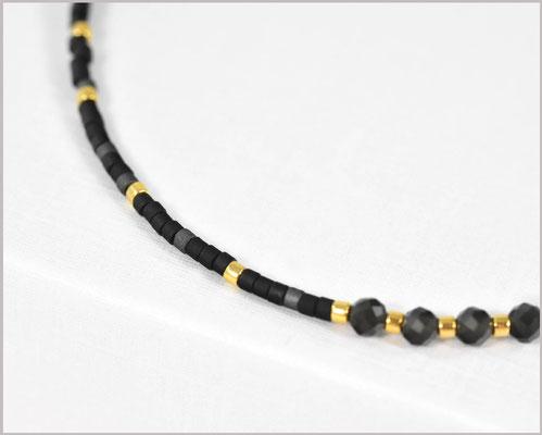 Edelstein Armband mit 3 mm Schneeflocken-Obsidian kombiniert mit Myuki Perlen Mix 2