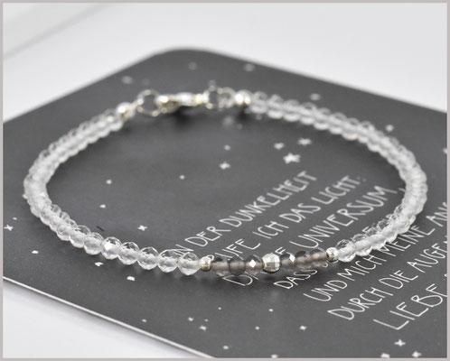 Edelsteinarmband mit Bergkristall und Rauchquarz, 925 Silber