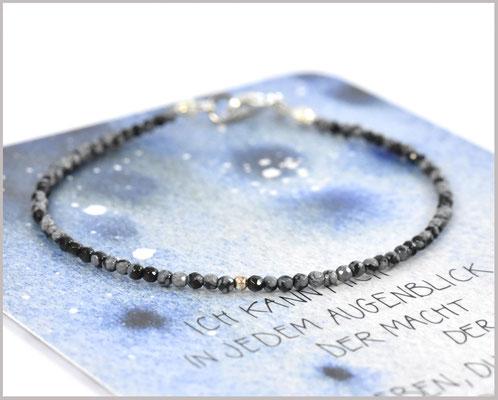Edelsteinarmband mit 2 mm Obsidian und 925 Silber
