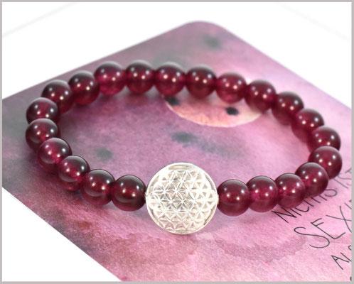 Rubin Armband 8 mm mit Blume des Lebens 925 Silber
