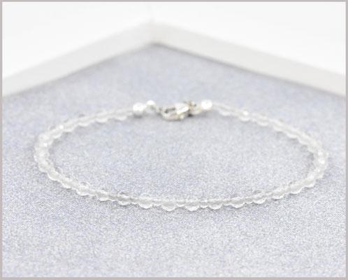 Bergkristall Edelsteinarmband mit 2 + 3 mm Perlen Mix und 925 Silber