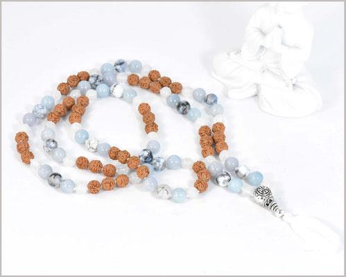 Mala Kette mit Jade und Achat Edelsteinen mit Rudraksha Perlen kombiniert  - Brahmi-