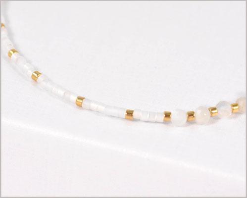 Elegantes Mondstein Edelsteinarmband in 3 mm mit Miyuki Perlen Mix
