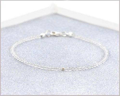 Bergkristall Edelsteinarmband mit 2 mm Perlen und 925 Silber