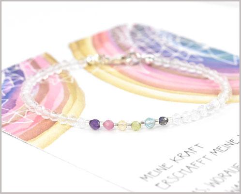 Pastell Edelsteinarmband Mix 3 mm mit Bergkristall facettiert