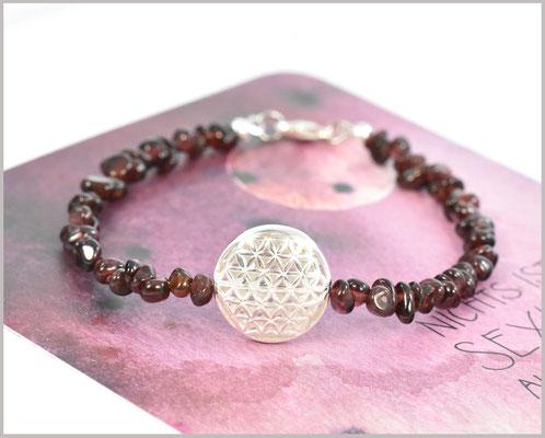 Granat Chips Edelsteinarmband 925 Silber mit Blume des Lebens