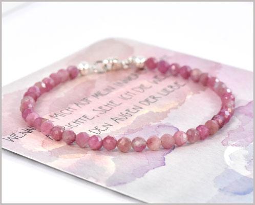 Edelsteinarmband mit 4 mm Turmalin rosa