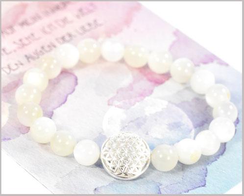 Mondstein Edelstein Armband 8 mm mit Blume des Lebens 925 Silber