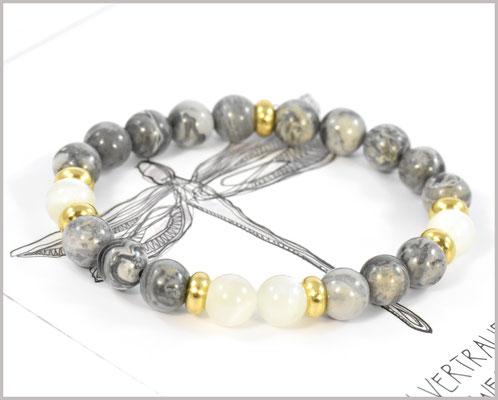 Jaspis Edelstein Armband 8 mm mit Mondstein Perlen