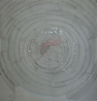 Paysage de calques n°6, 2010, calques, graphite, scotch, 100 x 100 cm