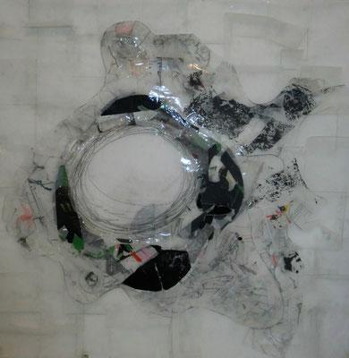 Paysage de calques n°3, 2010, calques, graphite, scotch, 100 x 100 cm