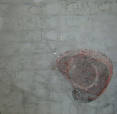Paysage de calques n°5, 2010, calques, graphite, scotch, 100 x 100 cm