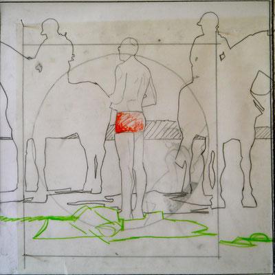 Sans titre, 2012, graphite, technique mixte sur calque, 40x40cm