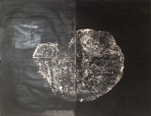 Caillou, 2015, encre de Chine, pigments sur papier, 50 x 65 cm