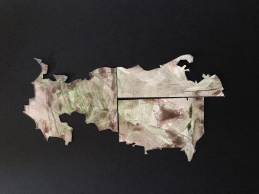 Des coupes #2, 2014, papiers découpés, crayons aquarellables, 21 x 29,7 cm