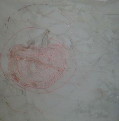 Paysage de calques n°8, 2010, calques, graphite, scotch, 100 x 100 cm