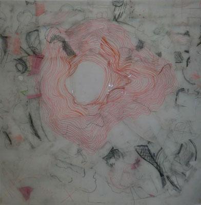 Paysage de calques n°4, 2010, calques, graphite, scotch, 100 x 100 cm