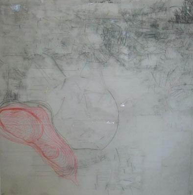 Paysage de calques n°1, 2010, calques, graphite, scotch, 100 x 100 cm