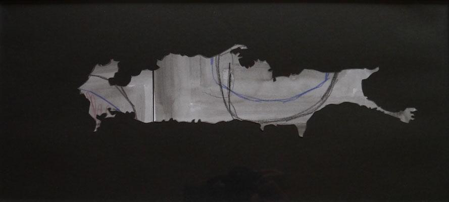 Des coupes #4, 2014, papiers découpés, lavis, graphite, 23 x 50 cm