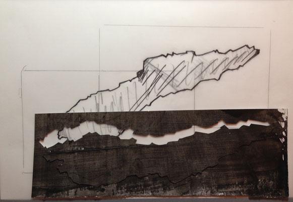 Des coupes #3, 2015,  calque, papier découpé, technique mixte, 21 x 29,7 cm