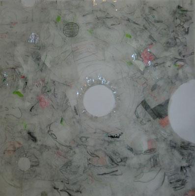 Paysage de calques n°7, 2010, calques, graphite, scotch, 100 x 100 cm