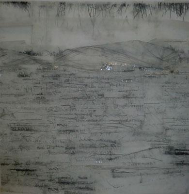 Paysage de calques n°2, 2010, calques, graphite, scotch, 100 x 100 cm