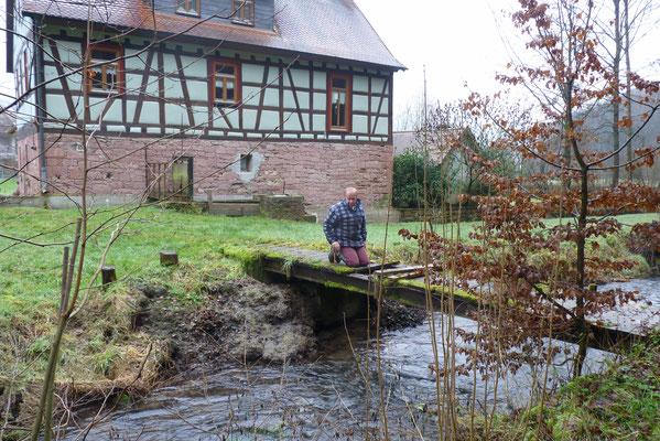 Vorbereitung für Nisthilfe unter einem Holzsteg