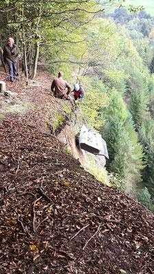 Aufbau in Felswand