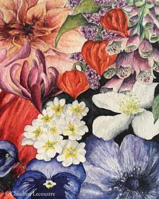 Millefiori I (détail), aquarelle / watercolor