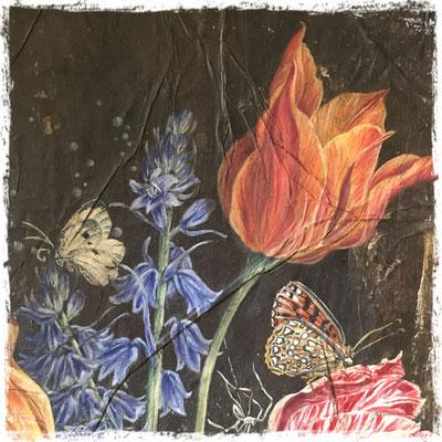 Bouquet d'avril au ruban (détail), acrylique / acrylic