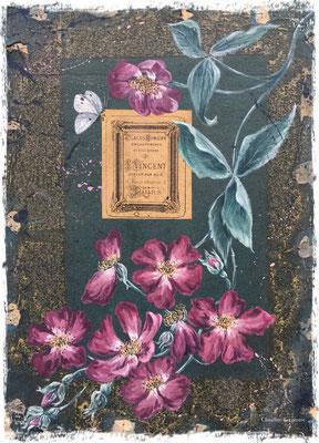 Roses sur vieux carton, acrylique / acrylic