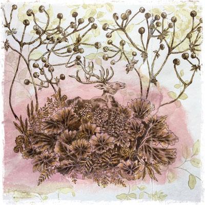 L'îlot, encre sepia et acrylique sur lambeau de papier peint / sepia ink and acrylic on vintage wallpaper piece