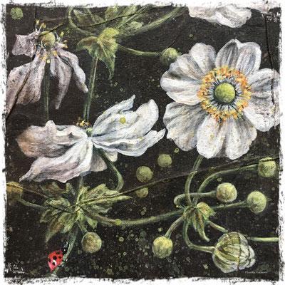 Anémones du Japon blanches et papillon (détail), acrylique / acrylic