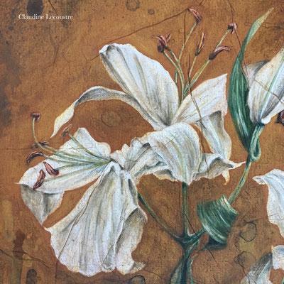Lys, paons du jour (détail), gouache et aquarelle / gouache and watercolor