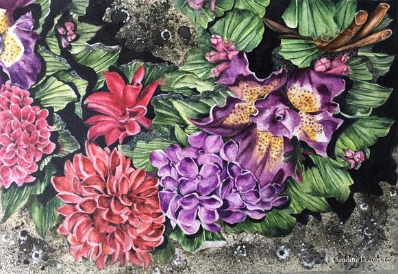 Fleurs tombales II, aquarelle et rehauts de gouache / watercolor and gouache highlights