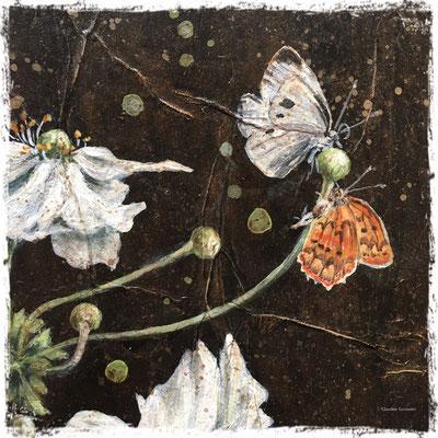 Anémones et papillons (détail), acrylique et pastel sec / acrylic and dry pastel
