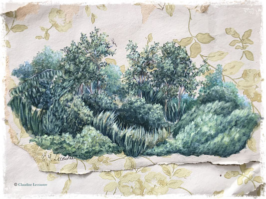 Walden, acrylique sur lambeaux de papier peint ancien / acrylic on vintage wallpaper pieces
