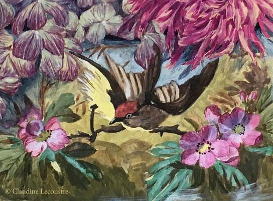 Dahlias, hydrangeas et papillons (détail), gouache et/and pastel