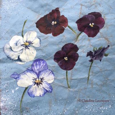 Croquis de violas / Violas sketch, aquarelle et gouache / watercolor and gouache