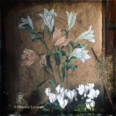 Lys, aquarelle et gouache sur papier recyclé / watercolor and gouache on recycled paper