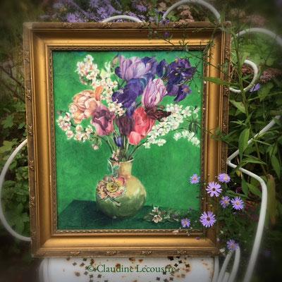 Bouquet de printemps (avec cadre ancien / with antique frame), aquarelle et gouache / watercolor and gouache