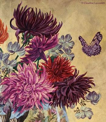 Dahlias, hydrangeas et papillons (details), gouache et/and pastel