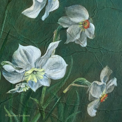 Narcisses et papillon citron (détail), acrylique / acrylics
