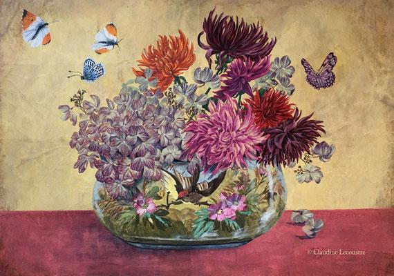 Dahlias, hydrangeas et papillons, gouache et/and pastel