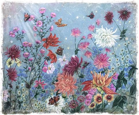 La fin de l'été, gouache, aquarelle et pastel sec / gouache, watercolor and dry pastel